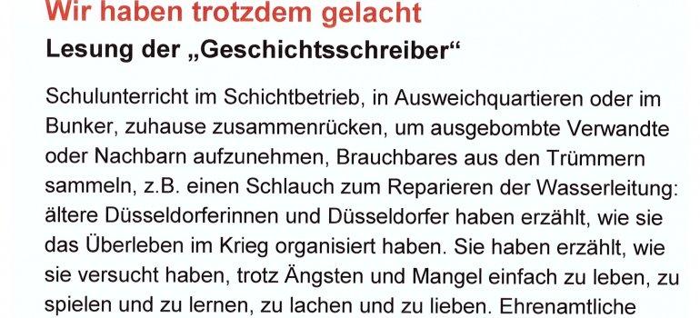 Die Geschichtsschreiber lesen am Samstag  2. Juli, 15.00 Uhr im Bezirksmuseum Eller (ehem. Chauffeurhaus von Schloss Eller), Heidelberger Straße 30b
