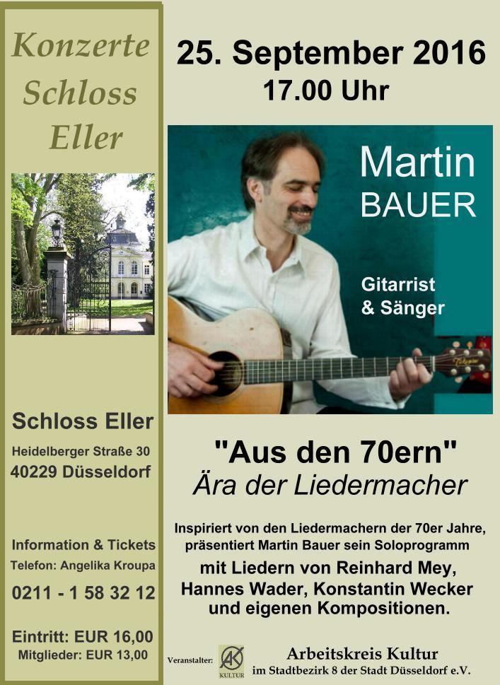 """"""" Aus den 70ern""""  –    Ära der Liedermacher mit Gitarrist und Sänger Martin Bauer"""
